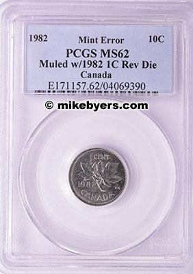 1982 Canada 10C Muled with Cent Reverse Die PCGS MS 62 UNIQUE