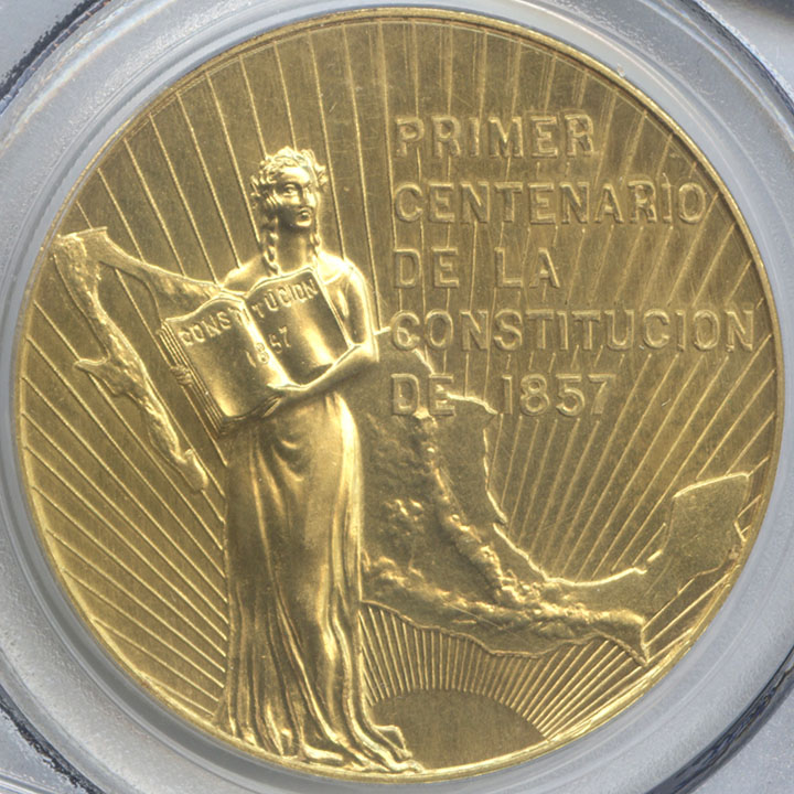 1957 mexico 50 pesos constitution gold double struck in collar pcgs
