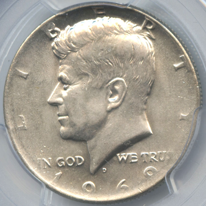1969-D Kennedy Half Dollar Missing Obverse AG Layer PCGS AU 58