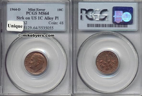 1980-P Roosevelt Dime Struck on Defective Copper Core PCGS MS 62